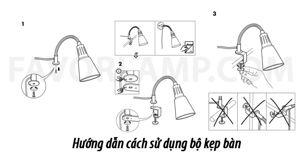 Huongdan1 Đèn đọc sách kẹp/gắn tường IKEA KVART CLAMP